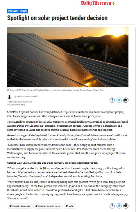 Carbon Friendly Enterprises Spotlight on Solar Tender Decision